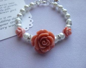 Pearl Childs Bracelet, Pearl Girls Bracelet, Pearl Flower Girl Bracelet, Pearl Childrens Bracelet, Pearl Childrens Jewelry, Flower Girl Gift