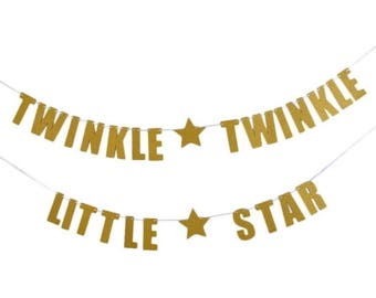 TWINKLE Twinkle little star banner bunting baby shower gold or silver glitter party decorations