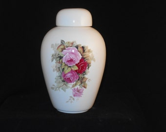Pink  Roses  Urn Ceramic jar with lid,urn, Jar with lid,large urn, large jar, art pottery, handmade