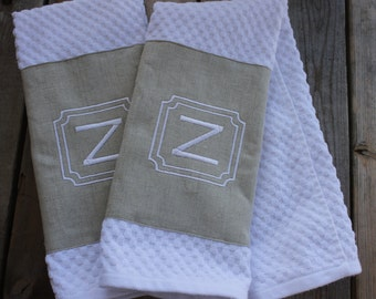 2 Monogrammed Kitchen Towels/ Hand Towels-  Square Frame