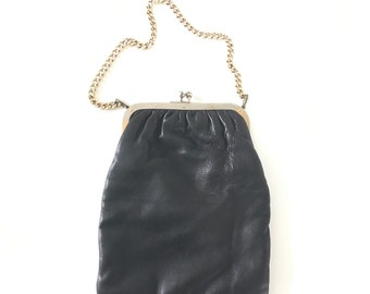 Handbag black leather and chain gold plated