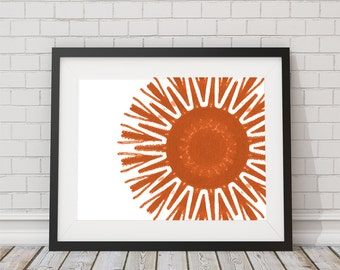 Orange Starburst Print 8x10 or 11x14 tribal