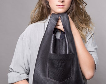 Black leather tote - women leather bag SALE soft leather handbag - leather shoulder bag - shopper bag - black leather bag