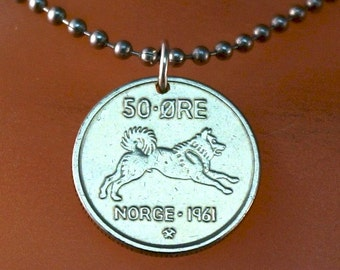 HUSKY necklace. Norway necklace. dog necklace,. vintage Norwegian JEWELRY. boy coin pendant. ore . dog lover No.001152