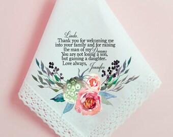 Wedding Handkerchief, Mother of the Groom Gift, Mother of the Groom Handkerchief, Printed Hankie, Custom Handkerchief, Lace Hankie Gift- 34