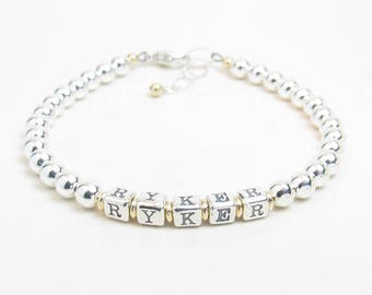 Mother's Bracelet - Gold and Silver Personalized Name Bracelet - Silver Beaded Name Bracelet - Gold Grandmother Bracelet - Gift for New Mom
