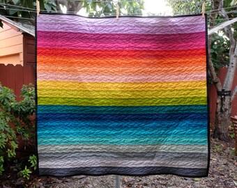 Modern Rainbow Brights Striped Baby Blanket / Lap Quilt