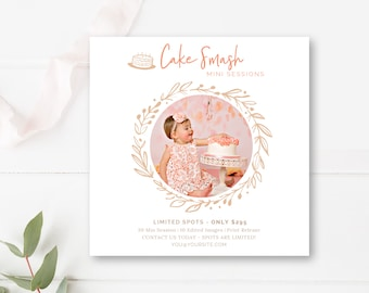 Cake Smash Mini Session 5x5 Template, Photography Photo Session Template, Photographer Templates, INSTANT DOWNLOAD!