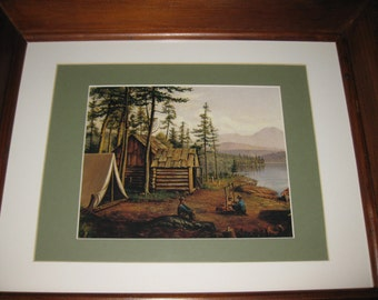 CAMPING By THE STREAM Print Original Painting Was By  Levi Wells Prentice (1851-1935) Antique Shadow Box Frame