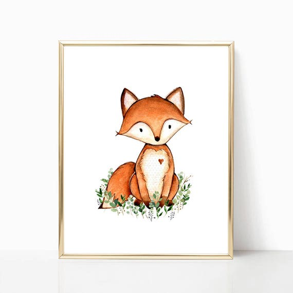 Fuchs-Kinderzimmer-Kunst. Druckbare Fuchs Kunst. Wald Fuchs