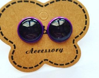 Purple ear studs earrings