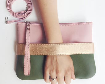 Leather clutch bag Crossbody purse Vegan clutch purse Vegan gift Evening clutch Vegan purse Faux leather purse Green clutch Pink handbag