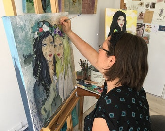 Commission a Modern Portrait Original Artwork Acrylic Watercolour Drawing Ink Line Collage Portrait Mother Sister Friend Dream Inspire Love