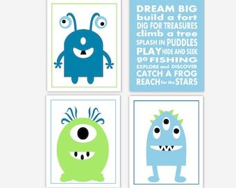 Monster Baby Boy Nursery Wall Art Blue Green Space Dream Big Aliens Wall Decor Toddler Boy Room Wall Decor Space Theme CHOOSE COLORS