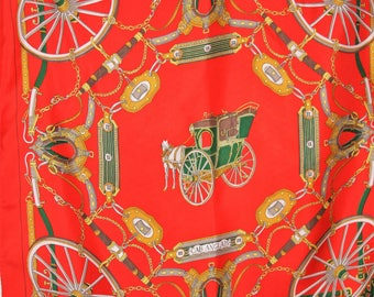 "BELLOTTI Silk Scarf ""Cab Anglais"" Orange/Red Gold 34"""