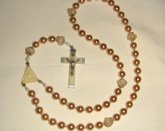 Pearl Bead Rosary 5 Decade Vintage Crucifix Handmade  inv2011