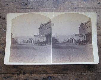 Stereoscope Cards Stereoviews by Charles Emery 1880, Post Office Main St Silver Cliff Colorado 3d photograph