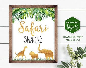 Safari Snacks Sign, Jungle Food Table Sign, Treat Sign, Jungle Shower, Safari Birthday, Safari Shower, Baby Shower, Printable, greenery HP9