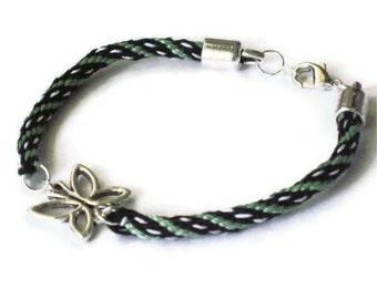 Butterfly bracelet - Kumihimo braid - mint green, white, black
