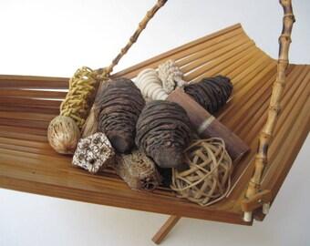 Vintage Folding Bamboo Basket with Handle