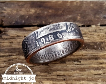 1986 Coin Ring - 1986 Quarter Ring - US Coin Rings - Liberty Quarter Rings - 1986 Ring - 1986 Jewelry - Birthday Gift - Anniversary Gift
