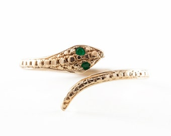 Free Shipping, Snake Ring, 14K Gold Snake Ring, Snake Ring With Emerald Eyes, Green Emerald, Nature Inspire Jewelry.