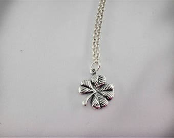 Clover Necklace Sterling Silver Charm Necklace Lucky 4-Leaf Clover Shamrock Irish Jewelry Clover Necklace Shamrock Charm Necklace