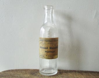 Vintage french measuring glass bottle, 1930s, Apothicary Bottle, Bouteille pharmacie apothicaire verre mesureur, France
