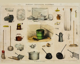 Vintage Kitchen tools poster - Kitchen Wall Art -  Art for cooks - Farmhouse Decor - Farmhouse Chart - Vintage Cooking Chart