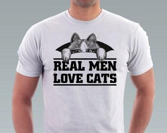 Real Men Love Cats tshirt Hipster Geek Cat Kitty Cat Shirt Pet Animal Art Men T-Shirt - White Tee S, M, L, XL, XXL
