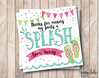 Thanks for Making My Party A Splash, Personalized Printable Pool Party Tags, Printable Thank You Tags, Printable Birthday Party Tags