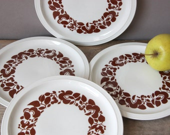 Melitta dessert breakfast plates 60s 70s, dishes, vintage plate, kitchenware, tableware white brown floral, porcelain Germany, kitchen gift