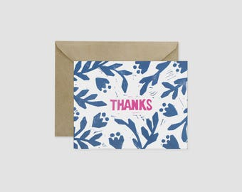 Floral Block Print Thank you Notes Card Navy Pink Magenta Colorful Tulips Flowers Leaves Notecard Greeting Card A2