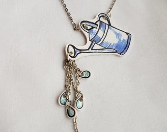 Watering can necklace, with water drops