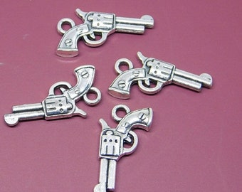 60% off 925 sterling Silver gun shape pendant -2pc-set- 21mm -STK-47-SLVR-36