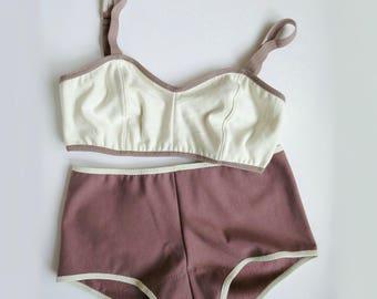 Bralette boyshorts underwear set - organic cotton, pick your color, custom made