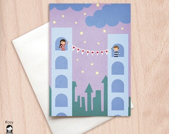 Long Distance Love - Love Card - Happy Valentine - Blank Greeting Card
