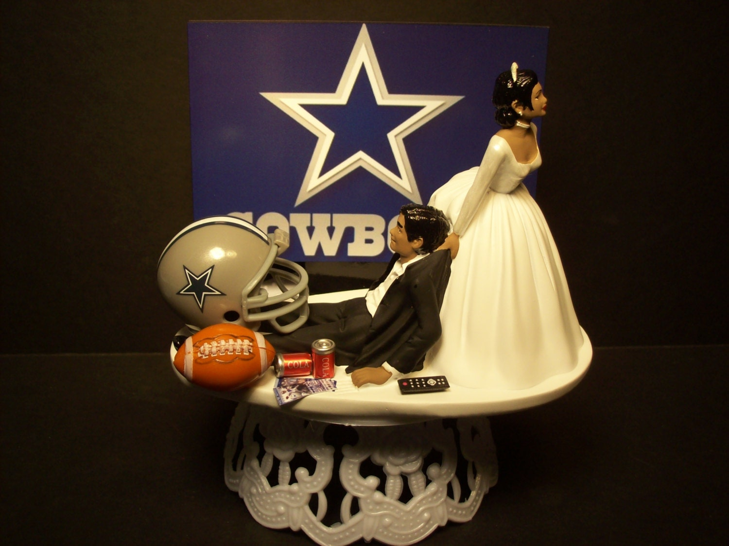 african american football wedding cake toppers dallas cowboys football and groom american or 10595