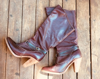 Sz 8 1970s Riding boots Dexter 70s oxblood Burgundy stacked leather heel real leather sole handcrafted high quality western cowboy buckle 8