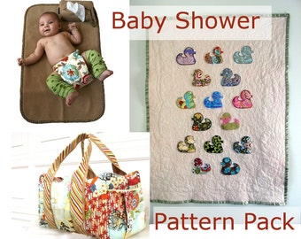 Baby Shower Sewing Pattern Bundle, 3 PDF patterns Instant downloads