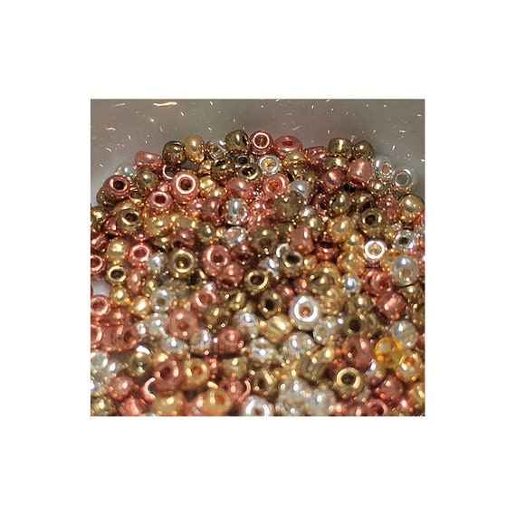 11/0 Mix Brass, Copper, Gold, Silver Seed  Beads 5 gm