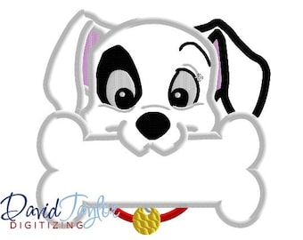 Dalmatian Bone Embroidery Design - 4x4, 5x7, 6x10 and 8x8 in 9 formats - Applique - Instant Download - David Taylor Digitizing