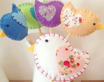 Decorations for Easter, 5 birds set
