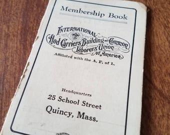 Union membership book 1937
