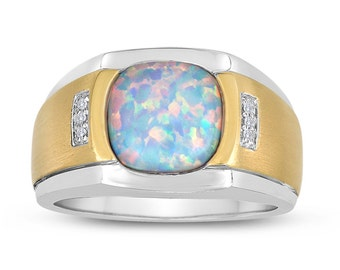Opal Signet Ring in Sterling Silver with Diamonds