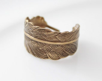 Antique Brass Feather Ring, Adjustable Feather Wrap Rings, Unique Rings, Gifts Under 20, Brass Jewelry, Feather Jewelry, Gift For Girls