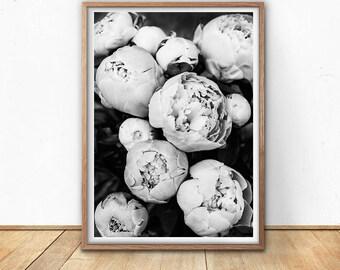 Peony Flower Print, Black And White Art Print, Digital Download, Printable Photography, Fine Art, Flower Wall Art, Bohemian Decor Art