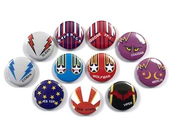 Top Gun Maverick Goose Iceman Helmet Graphics Movie Fan Art 11 - 1 or 1.25 Inch Pinback Button Pin Badge Set