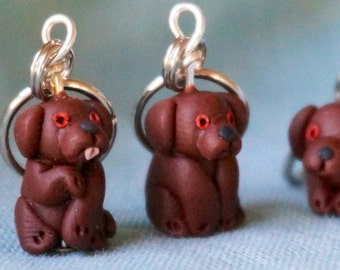 Chocolate Labrador Stitch Markers (set of 4)