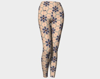 Indigo Large Daisy Yoga Leggings, Yoga Leggings, Women's Leggings, Printed Leggings, Yoga Pants, Gift for Her